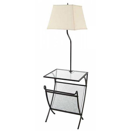 Floor Lamp with Glass Table and Magazine Rack
