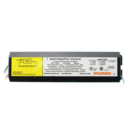 Sylvania QT1x32/120-IS Fluorescent Ballast, 1-Lamp, F32T8, 32W T8, (Fluorescent Ballast Voltage)