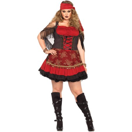 3x Costume (Leg Avenue Women's Plus-Size Mystic Vixen Costume, Burgundy/Black,)