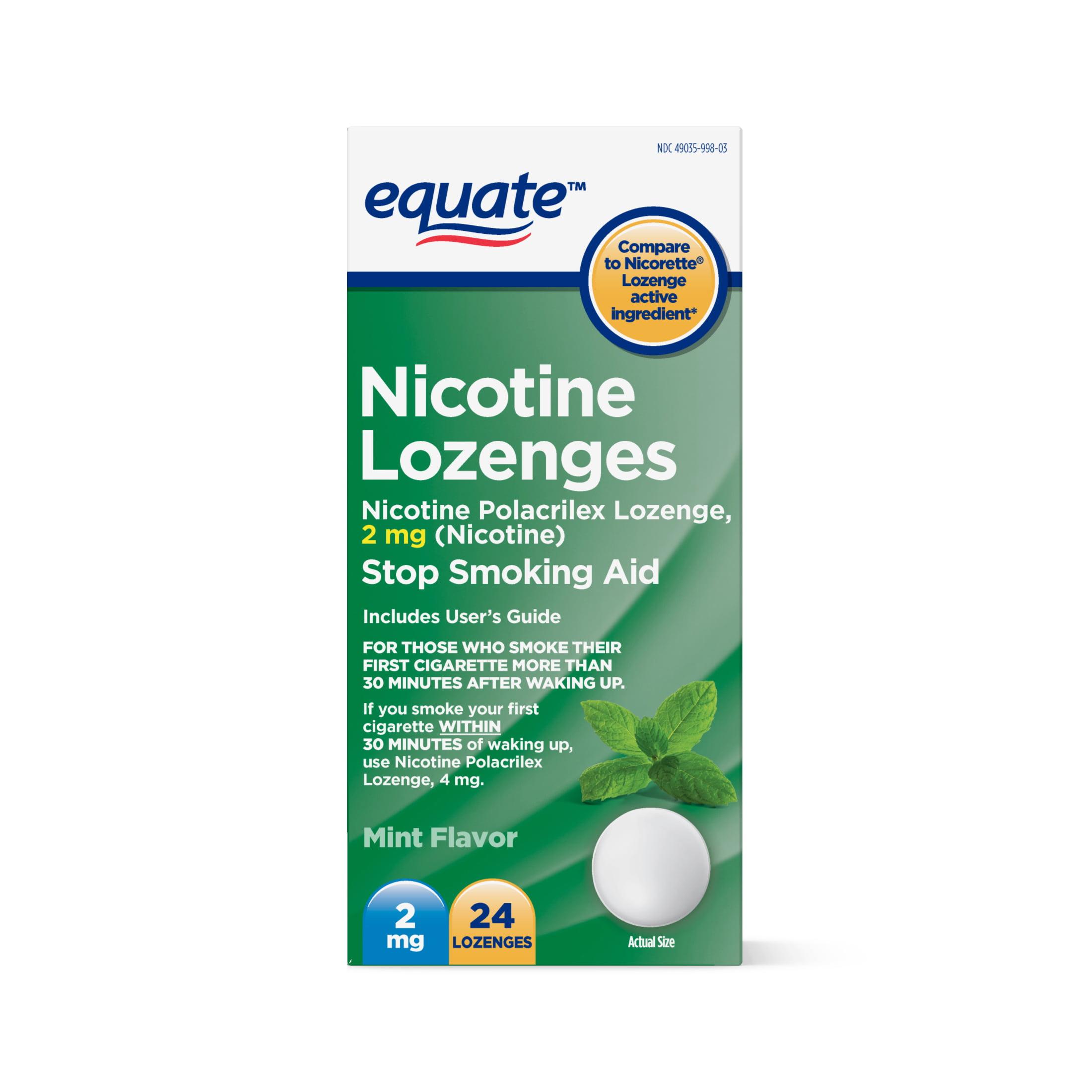 Equate Nicotine Lozenges, Mint Flavor, 2 mg, 24 Ct
