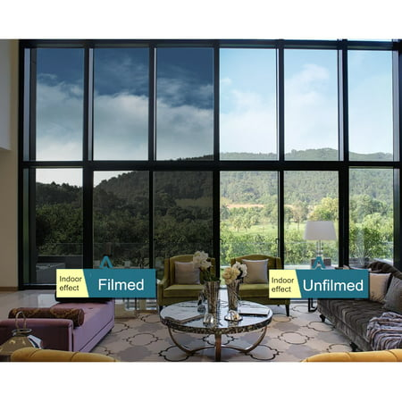 Meigar One Way Window Film Anti UV Window Film Self Adhesive Decorative Heat Control Privacy Glass Tint for Home and Office Windows 19.7''x78.7''