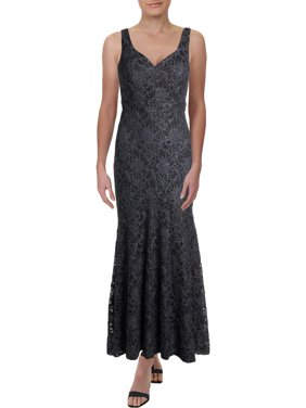 Betsy & Adam Womens Petites Lace Sleeveless Evening Dress