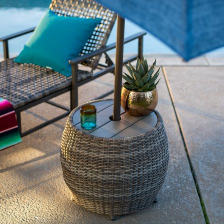 Coral Coast Chisholm All Weather Wicker Umbrella Side Table Coral Coast Side Table