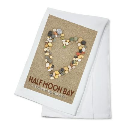 Half Moon Bay, California Is Where My Heart Is - Stone Heart on Sand - Lantern Press Photography (100% Cotton Kitchen Towel)