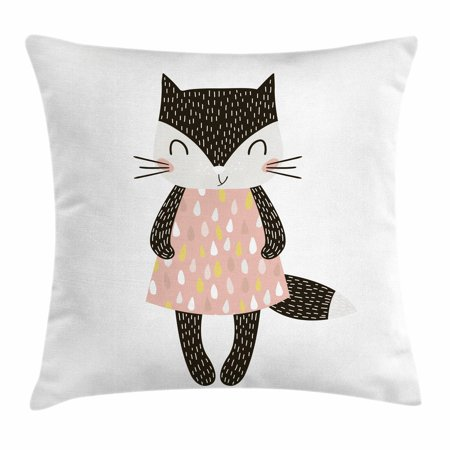 - Cat Throw Pillow Cushion Cover, Cute Feline Girl in a Raindrop Shapes Pattern Dress Hand Drawn Nursery Themed Animal, Decorative Square Accent Pillow Case, 16 X 16 Inches, Multicolor, by Ambesonne