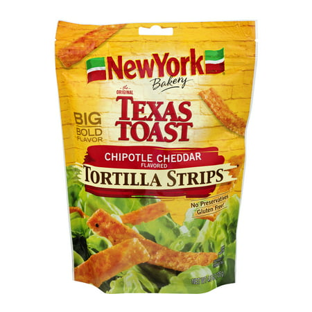(2 Pack) New York Bakery Texas Toast Tortilla Strips Chipotle Cheddar, 4.5 OZ