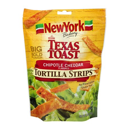 (2 Pack) New York Bakery Texas Toast Tortilla Strips Chipotle Cheddar, 4.5