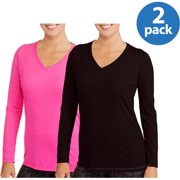 Women's Active Long Sleeve V-Neck T-Shirt, 2 Pack Value Bundle