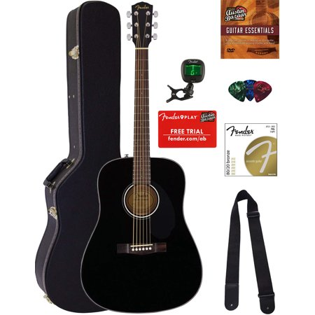 Fender CD-60S Dreadnought Acoustic Guitar - Black Bundle with Hard Case, Tuner, Strap, Strings, Picks, Austin Bazaar Instructional DVD, and Polishing Cloth
