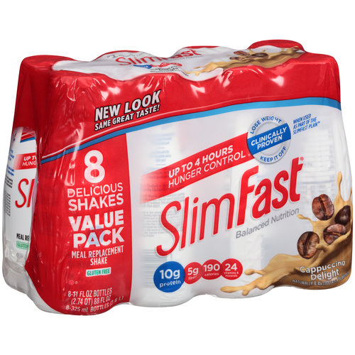 SlimFast Cappuccino Delight Meal Replacement Shakes, 11 fl oz, 8 count