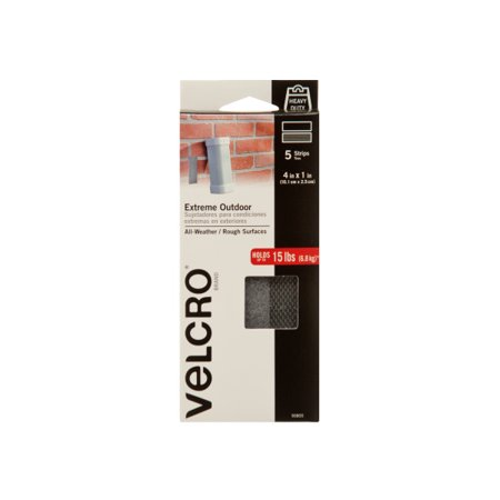 VELCRO Brand Extreme Outdoor Tape 4in x 1in Strips Titanium 5 ct