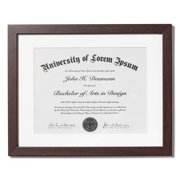 mahogany document frame made to display documents sized 85 x 11 inch with mat and - Dual Diploma Frame