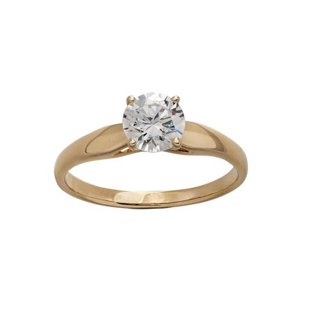 75 Carat T.G.W. CZ Round Solitaire 10kt Yellow Gold Engagement Ring