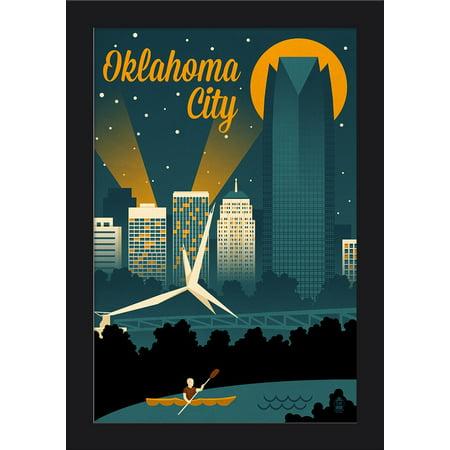 Oklahoma City  Oklahoma   Retro Skyline   Lantern Press Artwork  12X18 Giclee Art Print  Gallery Framed  Black Wood