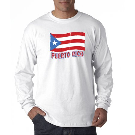 New Way 720 - Unisex Long-Sleeve T-Shirt Puerto Rico Flag Pr Distressed (Carolina Pr)
