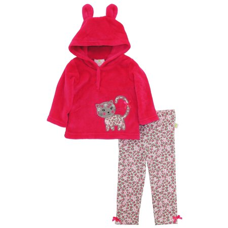 Duck Goose Baby Girls Cheetah Sherpa Ear Cardigan Sweater Hoodie 2Pc Pant Gift Outfit Set for $<!---->