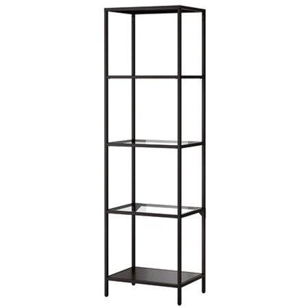 IKEA VITTSJÖ,Shelving unit, black-brown, glass
