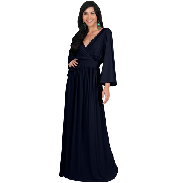 Koh Koh Koh Koh Long Kimono Sleeve With Sleeves Wrap Fall Winter Empire Waist Flowy Casual Formal Cute Maternity Robe Abaya Tall Maxi Dress Gown For Women Dark Navy Blue Medium