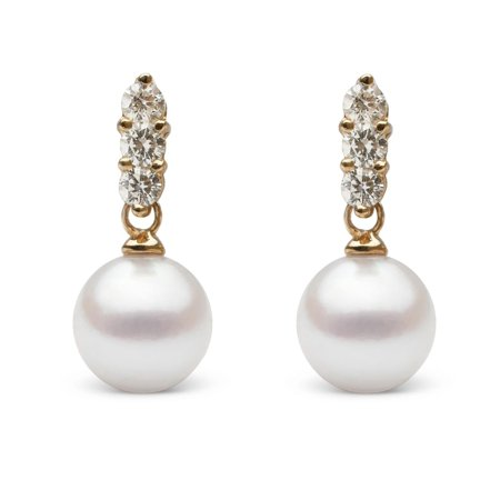 Trio Collection 8.0-8.5 mm Akoya Pearl and Diamond Earrings (Diamond And Pearl Earrings)