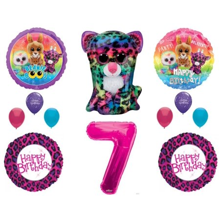 Beanie Boos 7th Birthday Party Balloons Decoration TY Cheetah Animals (Beanie Boo Party Supplies)
