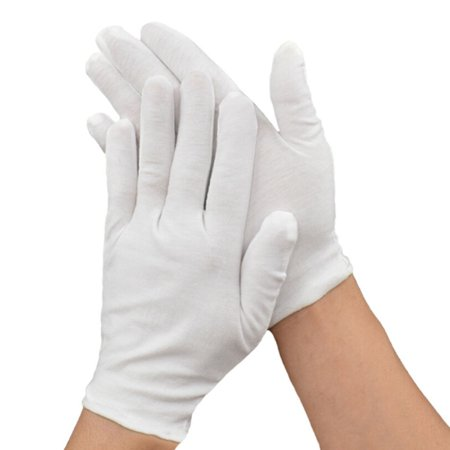 Parade Band (Fancyleo 3 Pairs White Cotton Gloves Coin Jewelry Silver Inspection Gloves Band Parade Dress Ceremonial Gloves )
