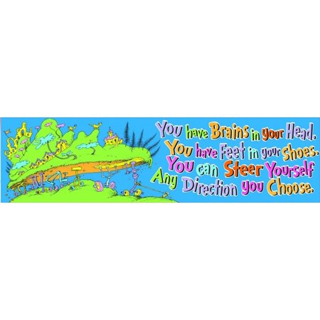 Dr. Seuss 'Oh the Places You'll Go' Colorful Back to School Motivational Banner Classroom Decoration, 12'' x 45 '', Includes (1) Dr. Seuss Cat in the Hat.., By Eureka](February Classroom Door Decoration Ideas)
