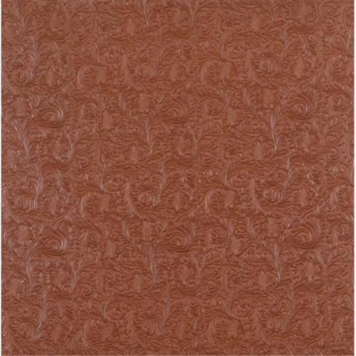 Designer Fabrics G250 54 inch Wide Clay Brown, Intricate Floral Designed Upholstery Faux Leather
