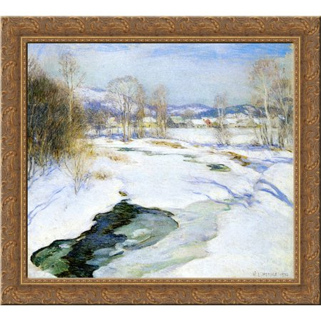 Icebound Brook (aka Winter's Mantle) 20x20 Gold Ornate Wood Framed Canvas Art by Metcalf, Willard ()