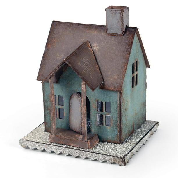 complete Tim Holtz village dwelling die cut kit all 9 buildings+roofs,landscape