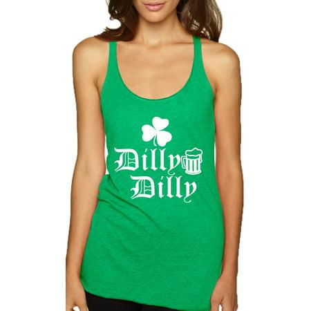 Allntrends Women's Tank Top Dilly Dilly St Patrick's Irish Shamrock Top White - Shamrock Skirt