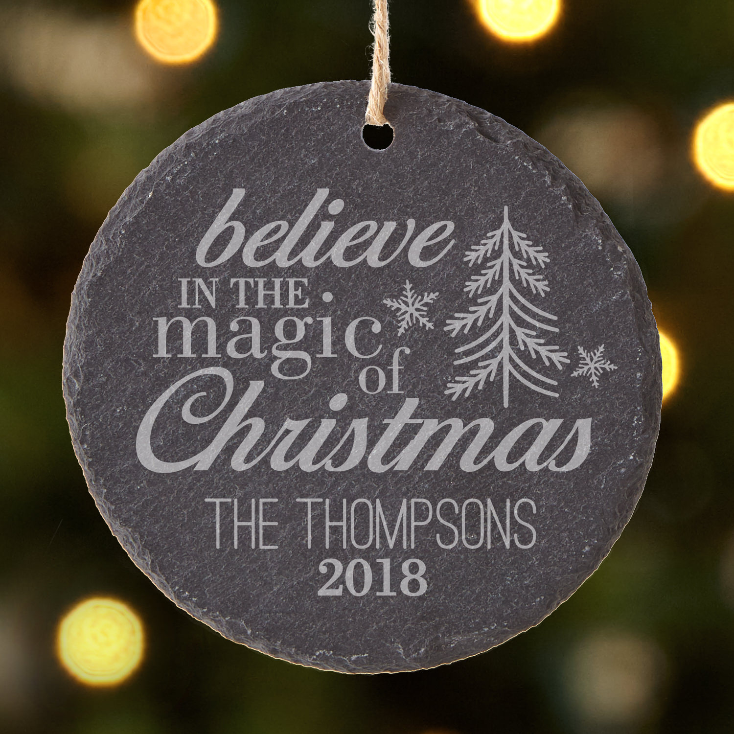 Personalized Magic of Christmas Round Slate Ornament