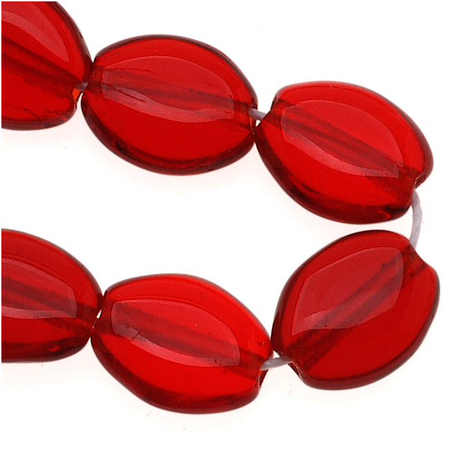 Czech Glass Flat Smooth Oval 8mm X 6mm Dark Ruby Red (25 Beads)
