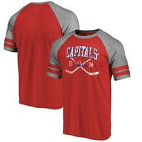 Washington Capitals Fanatics Branded Vintage Collection Line Shift Tri-Blend Raglan T-Shirt - Red
