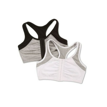 Womens Front Close Racerback Sport Bra, Style FT390, 2-Pack
