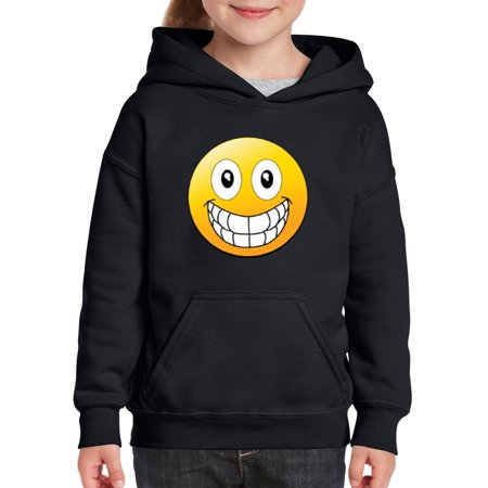 Emojis Hoodie Big Smile Grinning Big Mouth  Youth Hoodies Sweater