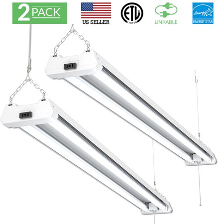 SUNCO 2PK Shop Light (Frosted) LED 40W (120W) 4500 Lumens (5000K -