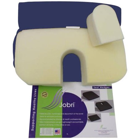 Coccyx Cut Out - Jobri BetterPosture Memory Seat Wedge with Removable Coccyx Cut-Out, Blue