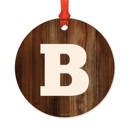 Metal Christmas Ornament, Monogram Letter B, Rustic Wood, Includes Ribbon and Gift Bag - Ribbon Letters