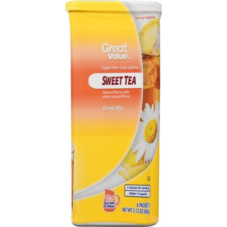 Great Value Sugar-Free Sweet Tea Drink Mix, 2.12 Oz., 6