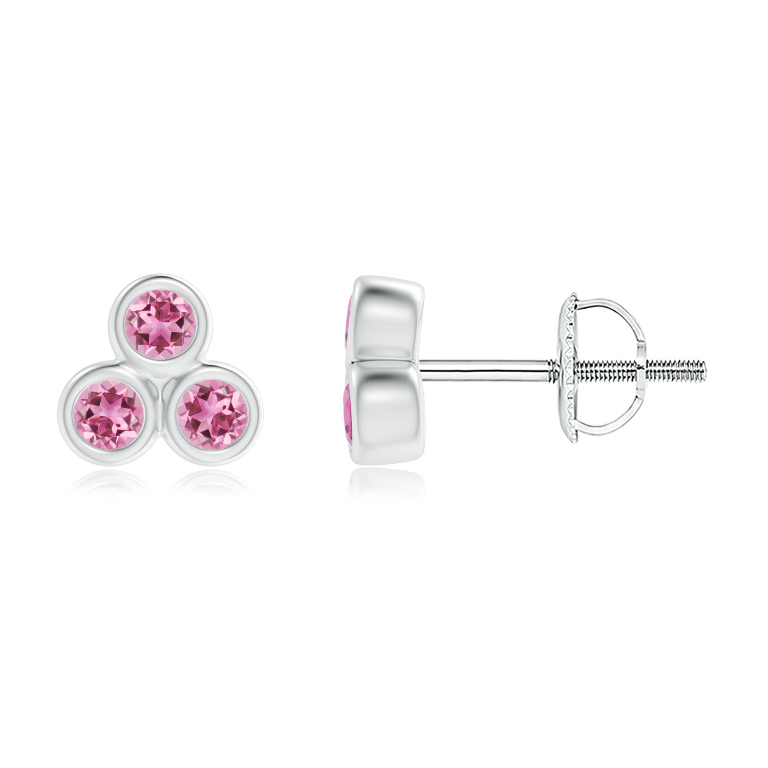 Mother's Day Jewelry Bezel Set Pink Tourmaline Trio Cluster Stud Earrings in .925 Sterling Silver SE1506PT-SL-AAA-2 by Angara.com