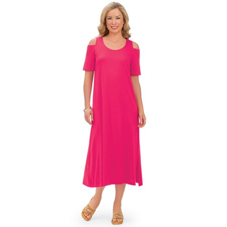 - Women's Cold Shoulder Cotton Jersey Knit Casual Dress with Scoop Neckline, X-Large, Coral
