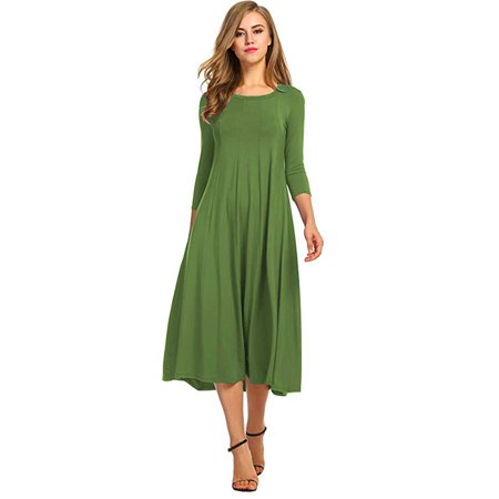 Women's 3/4 Sleeve A-Line and Flare Midi Long - Green Velvet Baby Dress