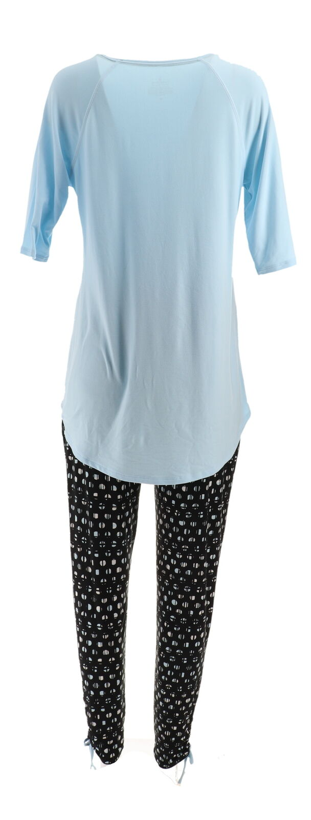 Cuddl Duds Short Slv Tee Cropped Pant Set Opal Grn Cactus L NEW A346880