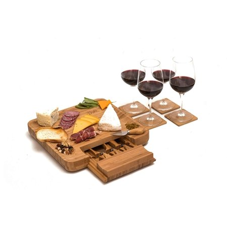 Bamboo Cheese Board Set with Cutlery and Wine Coasters (9-Piece Set) Serve Meat, Cheeses, Crackers   4 Stainless-Steel Cutting & Serving Knives   Slide-Out Drawer   Includes 4 Wine Coa ()