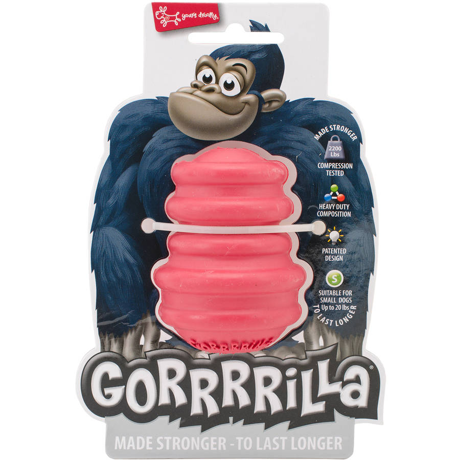"Multipet Gorrrrilla Tough Rubber Treat Toy, 2.5"", Red"