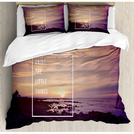Motivational King Size Duvet Cover Set, Sunset on Beach with Tropical Landscape Hawaiian Scenic Beauty Idyllic Quote, Decorative 3 Piece Bedding Set with 2 Pillow Shams, Multicolor, by Ambesonne