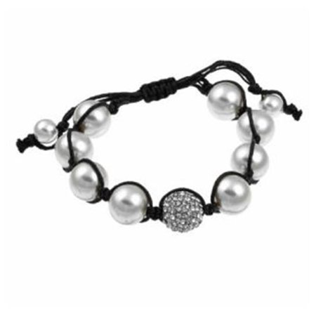 - Zircomania 622B0028WHT Pave Clear Crystal and White Faux Pearl Beaded Macrame Adjustable Bracelet