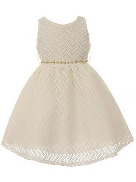Chic Baby America Girls Ivory Chevron Cotton Fishnet Junior Bridesmaid Dress