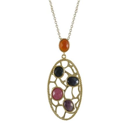 Dlux Jewels Gold Plated Sterling Silver Multi Color Faceted Semi Precious Flat Stones with Filigree Pendant, 2.18 in. (Plated Multi Stone)