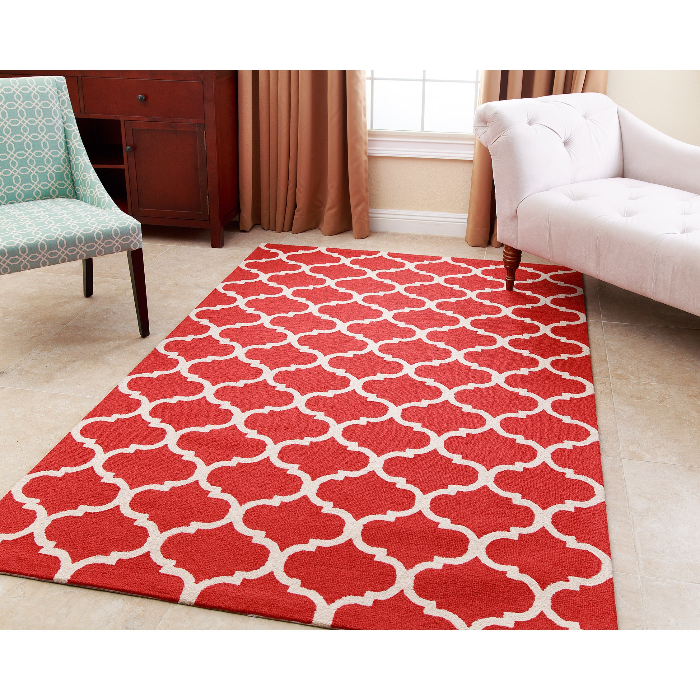 Abbyson  Hand-tufted Carson Red New Zealand Wool Rug (8' ...